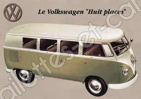 CARTE POSTALE VW COMBI VINTAGE
