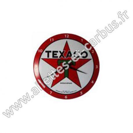 Pendule sur Plaque Emaillée Bombée 25cm TEXACO