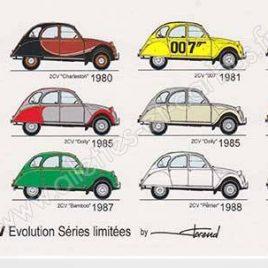 Carte postale Citroën 2cv séries spéciales évolution