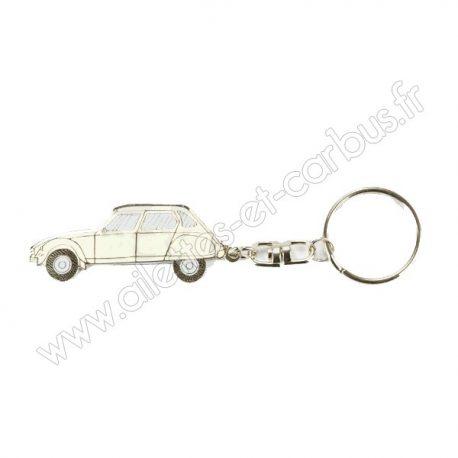 Porte clés Citroën Dyane blanche
