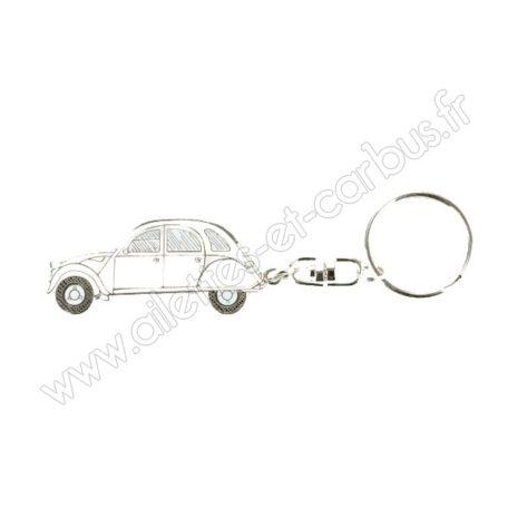 Porte clés Citroën 2cv blanche