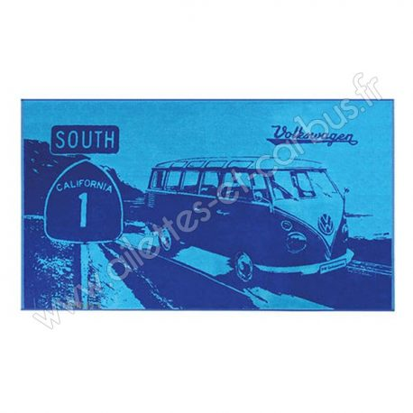 Serviette plage VW combi South Bleue